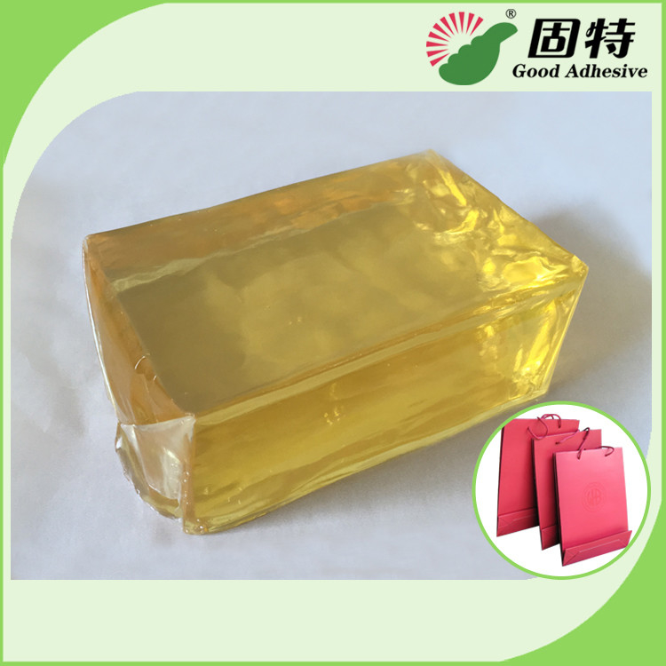 Yellow and semi-transparent PackagingBlock Synthetic polymer resin Hot Melt Glue For handbag making in bottom (backing).